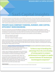 Private SaaS Company Funding, Runway, and Capital Efficiency Benchmarking Research FI